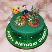 80th gardening theme cake - tamworth