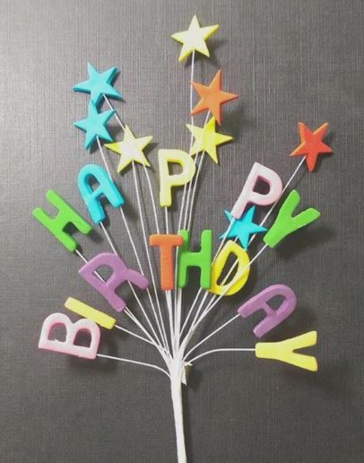 Happy Birthday rainbow star spray cake decoration - Tamworth, West Midlands