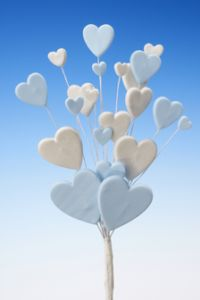 Blue white heart spray icing cake decoration - Tamworth, West Midlands