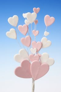 Pink white love heart spray icing cake decoration - Tamworth