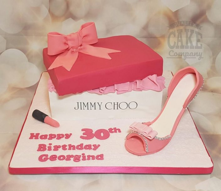 Pink jimmy choo shoe and shoebox birthday cake - Tamworth West Midlands