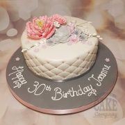 vintage greys pinks floral quilted birthday cake - Tamworth