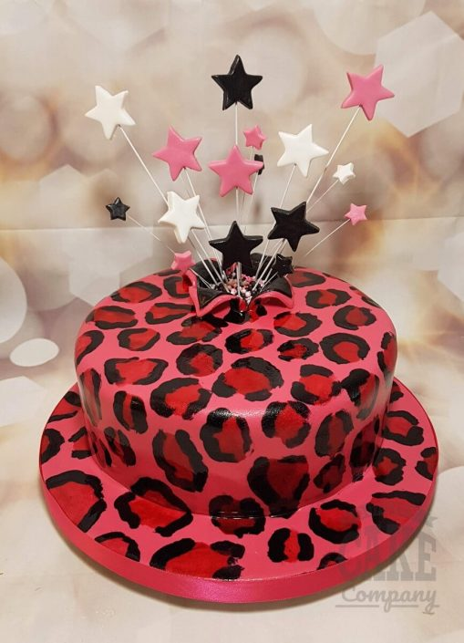 pink leopard print star spray birthday celebration cake - tamworth west midlands