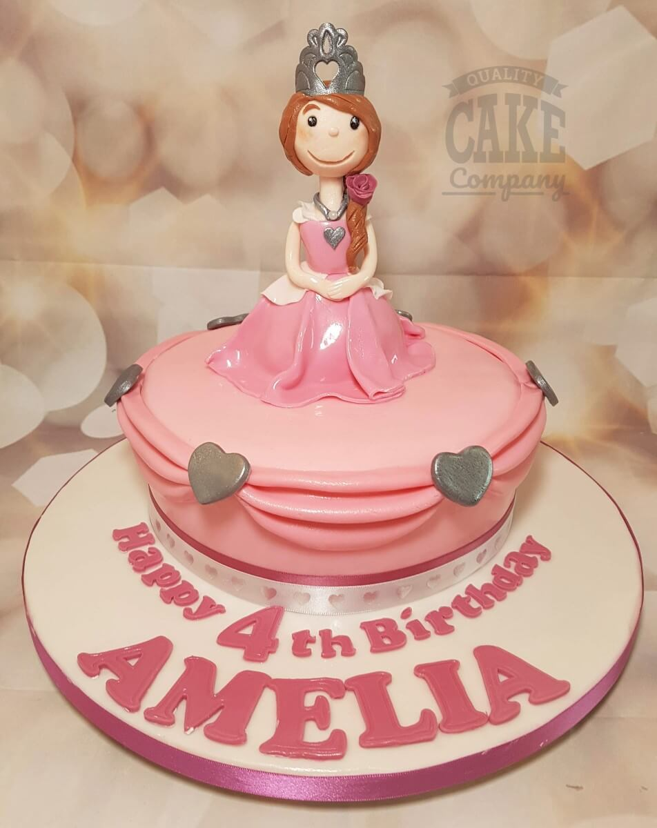 Princess figure pink frill birthday cake - Tamworth West Midlands