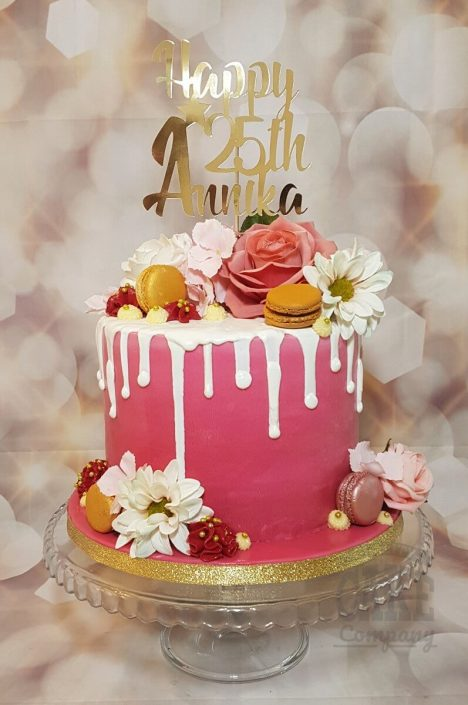 Elegant floral pink drip cake with custom topper - Tamworth West Midlands