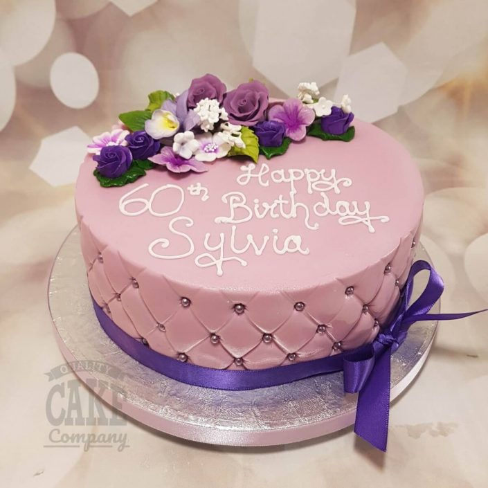 purple floral flowers quilted birthday cake - Tamworth west midlands