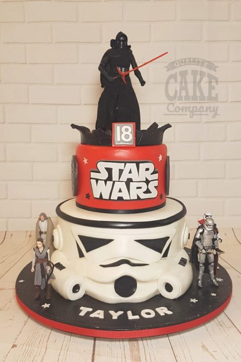 Two tier star wars Kylo ren storm trooper birthday cake - tamworth