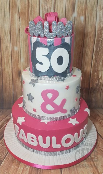 Three tier pink white silver 50 & fabulous birthday cake - Tamworth