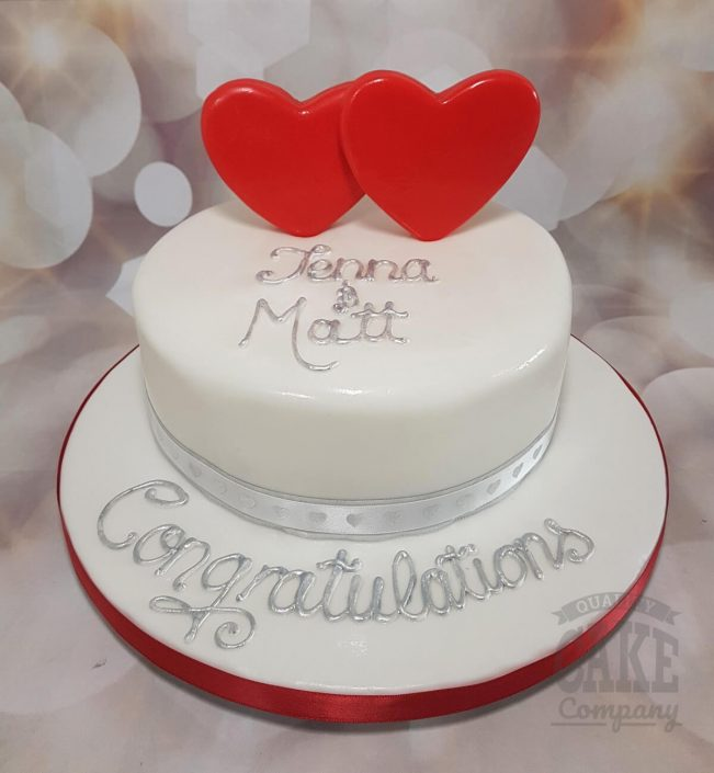 Red hearts congratulations cake - Tamworth west midlands