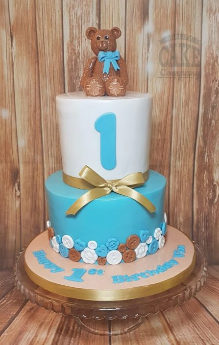 Two tier Buttons and bear 1st birthday cake - Tamworth West Midlands