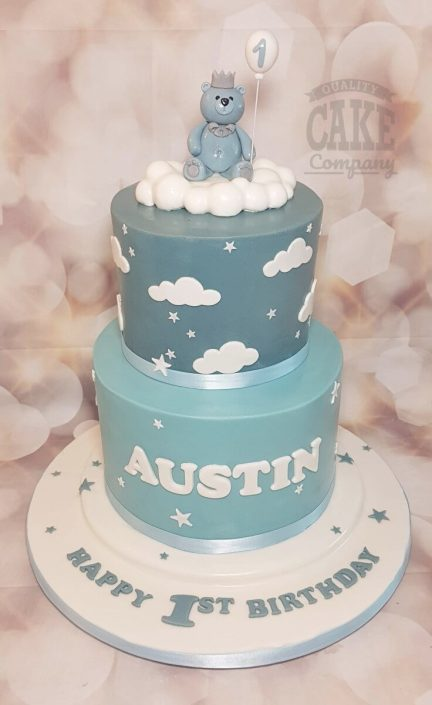 Two tier bear in the clouds blue 1st birthday cake