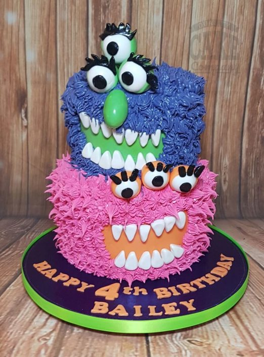 Two tier dairy-free monster theme birthday cake - Tamworth West midlands