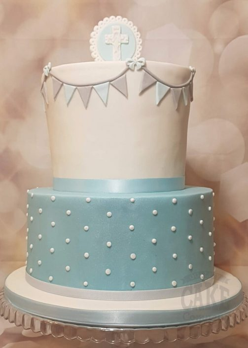 Two tier blue christening baptism cake simple elegant - Tamworth West Midlands