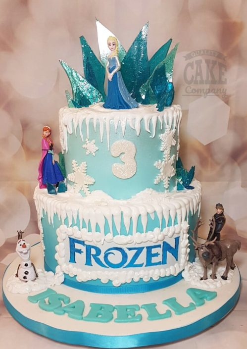 Two tier Frozen ice snowflake theme birthday cake - Tamworth West Midlands