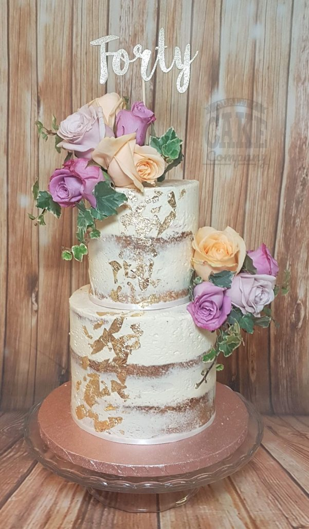 Two tier semi naked gold leaf birthday cake real roses - Tamworth West Midlands