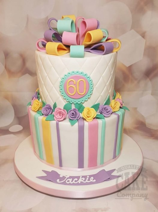 Two tier pastel quilted stripes modern birthday cake - Tamworth West Midlands