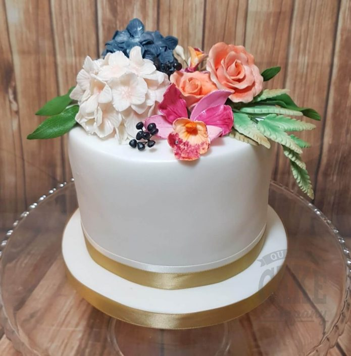 Autumal flowers floral simple wedding cake - tamworth west midlands