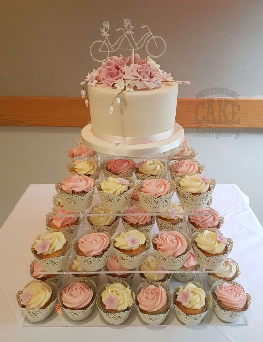 Wedding cupcakes pink floral and custom bicycle topper - Tamworth West midlands