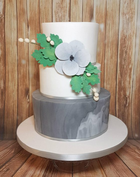 Three tier marble and poppy grey wedding birthday cake - Tamworth west midlands
