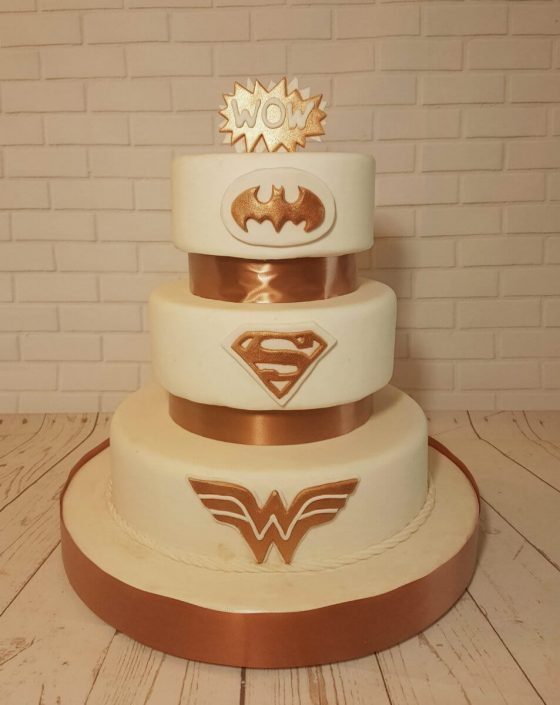 Three tier ivory rose gold superhero wedding cake - tamworth west midlands