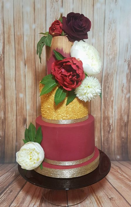 Red and gold large flower wedding cake - Tamworth West Midlands