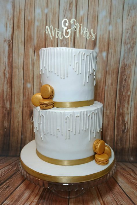 Two tier white drip wedding cake gold highlights - Tamworth West Midlands