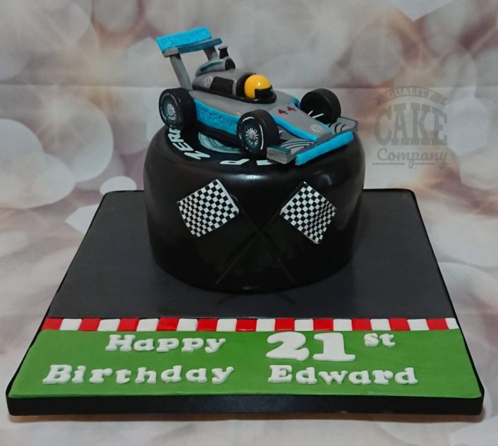 F1 formula 1 car on tyre cake - Tamworth