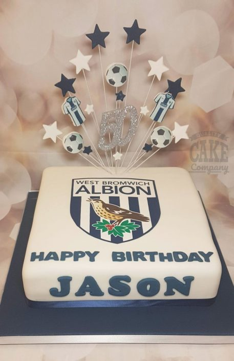 West Bromwich Albion WBA star spray cake - Tamworth