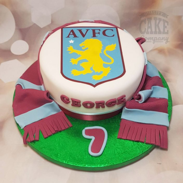 Aston villa AVFC theme cake with scarf and badge - Tamworth