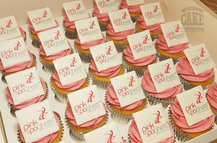 Pink corporate printed logo cupcakes - Tamworth West Midlands