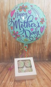 Mother's Day cupcake box of 4 and balloon - Tamworth