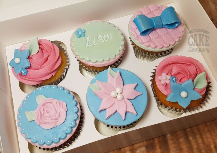 Floral pastel blue cupcakes - tamworth