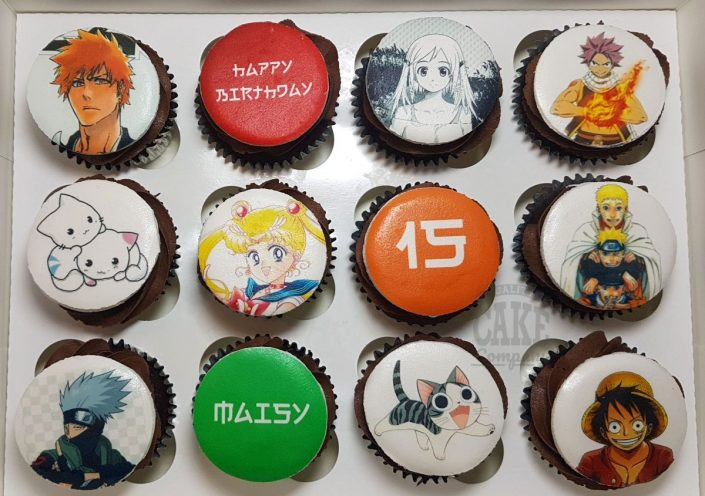 Manga theme printed cupcakes - Tamworth Sutton Coldfield