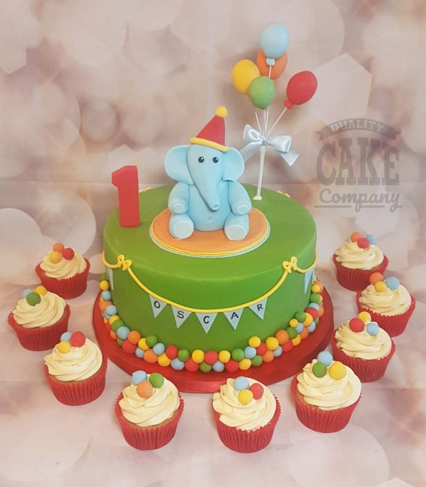 Cute elephant with balloons 1st birthday cake - tamworth
