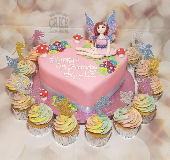 Princess fairy theme cake and cupcakes heart shape - Tamworth