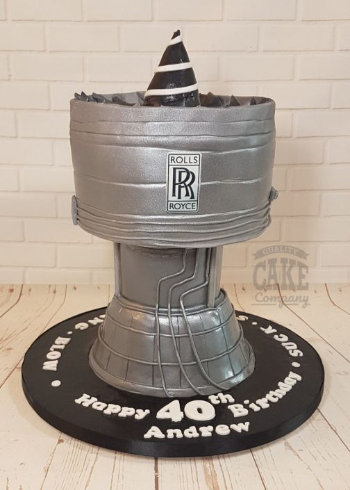 Novelty rolls royce jet engine cake