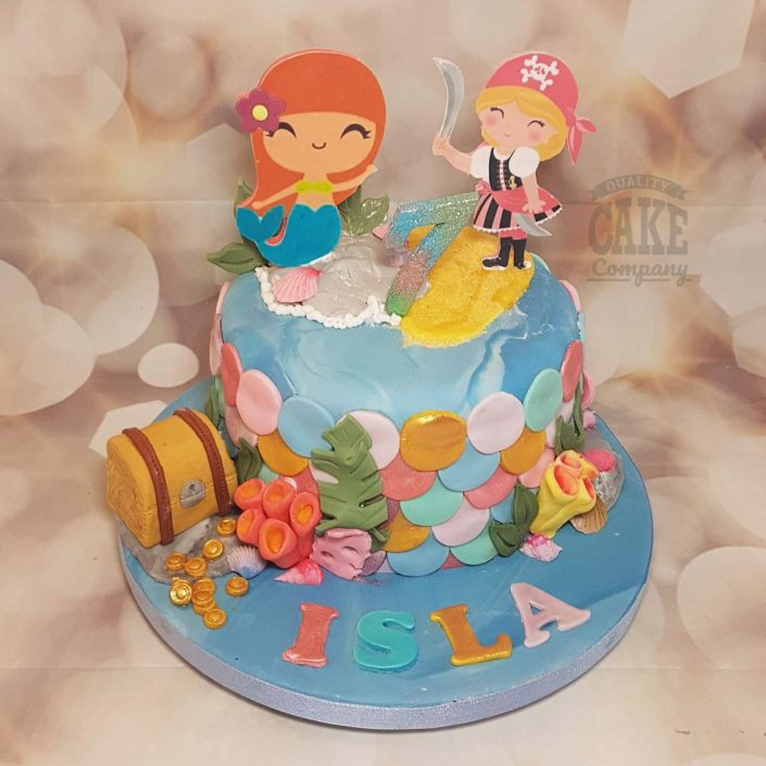 Mermaid and pirate under the sea theme children's birthday cake - Tamworth Sutton Coldfield
