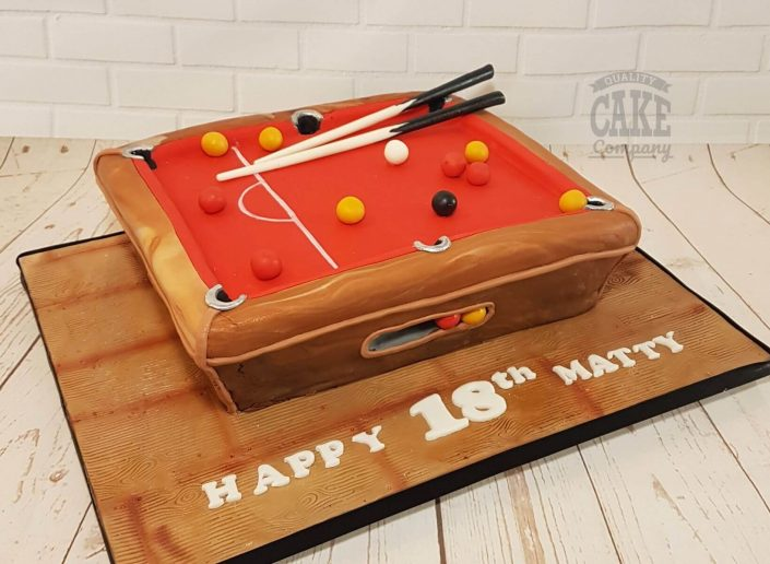 Pool table novelty birthday cake with red felt - Tamworth