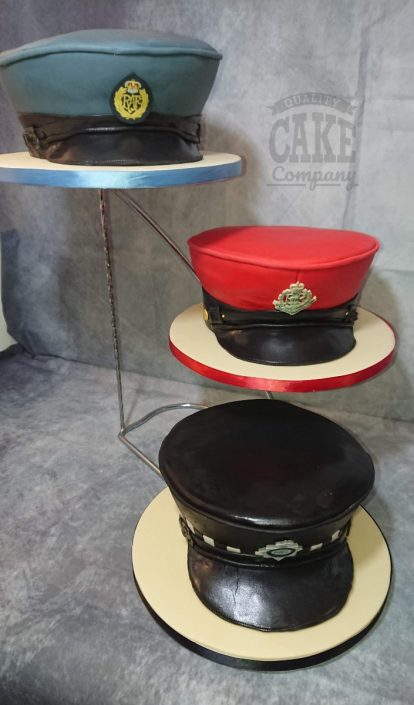Police cadet novelty sculpted hats made from cake - tamworth