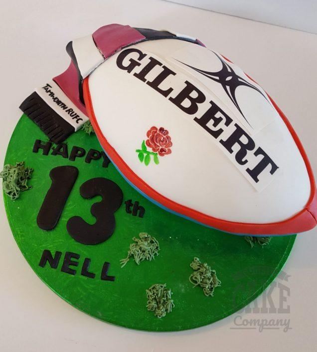 rugby ball and scarf theme cake - tamworth
