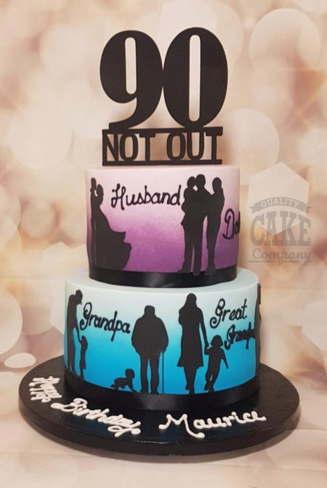 90th birthday two tier silhouette cake - tamworth