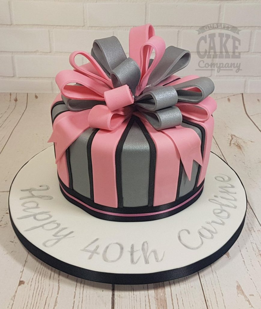 Giant silver and pink bow present birthday cake - tamworth