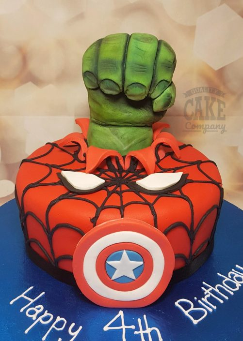 Spiderman hulk marvel theme children's birthday cake - Tamworth
