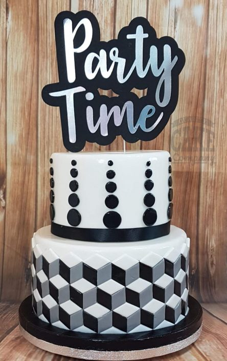 Two tier black white geometric party time topper celebration cake - tamworth