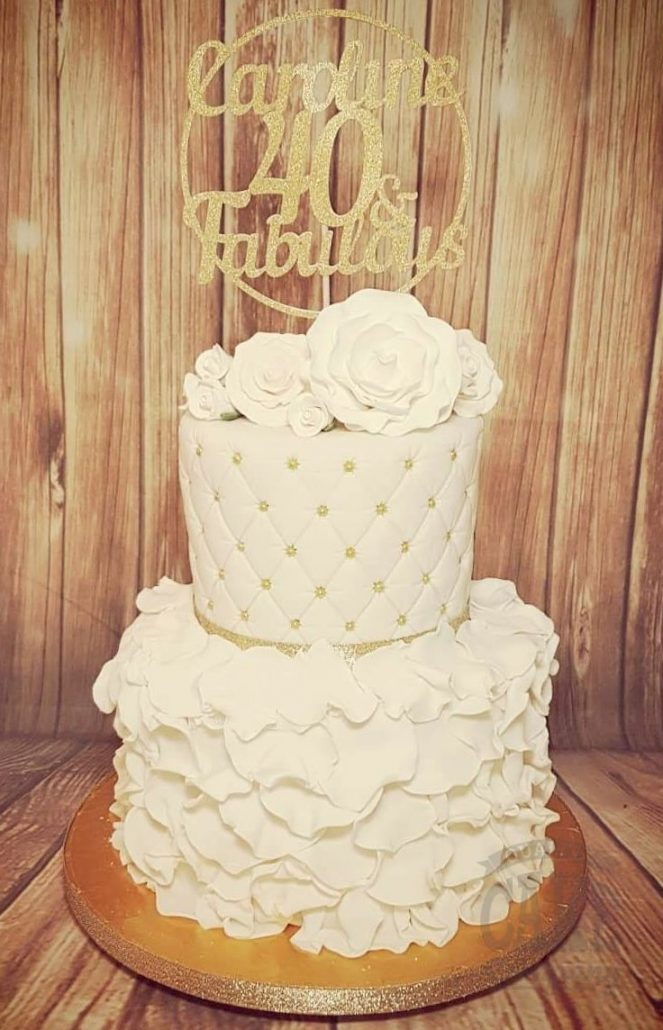 40th birthday cake with ruffles and quilted elegant modern with topper - Tamworth
