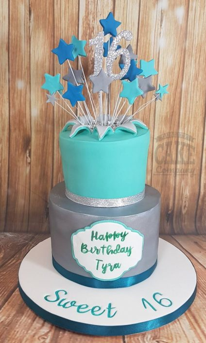 Two tier teal silver star spray birthday celebration cakes - Tamworth