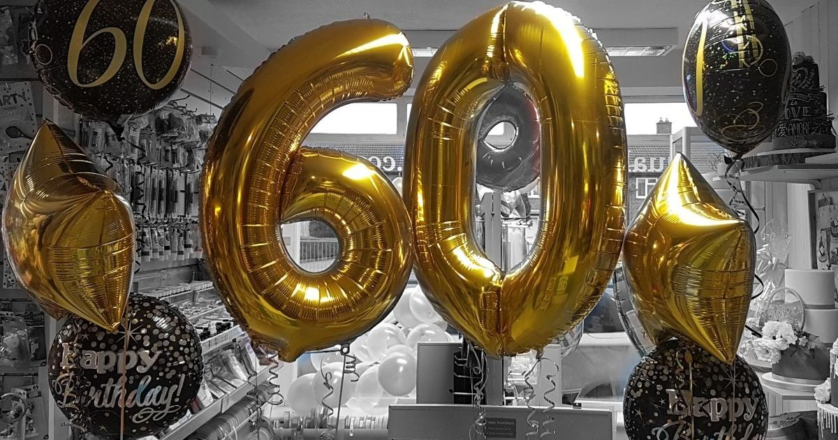 £35 balloon deal exclusively at Quality Cake Company Tamworth - gold 60th birthday theme
