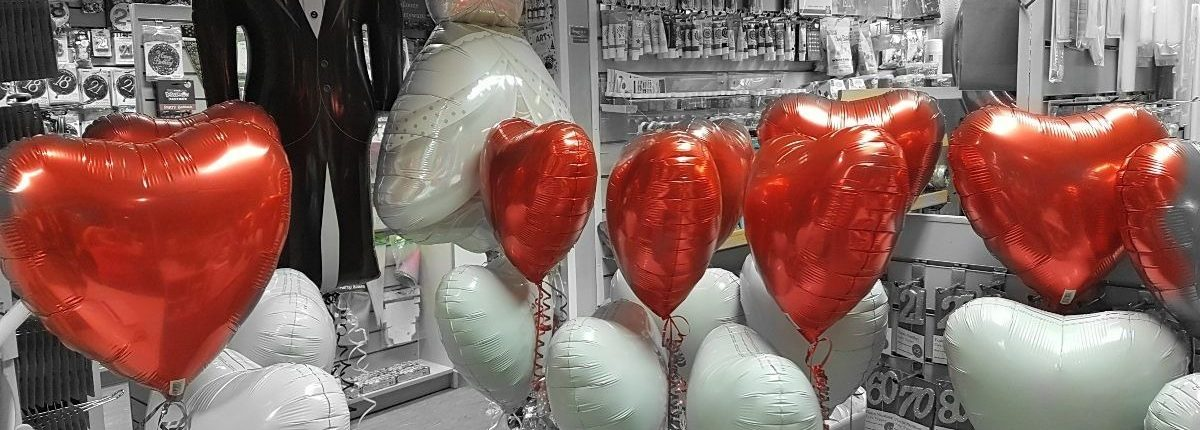 Red and white heart balloons for a wedding - tamworth