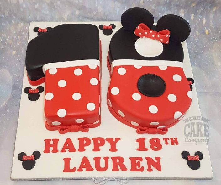 number 18 birthday minnie mouse theme cake - tamworth