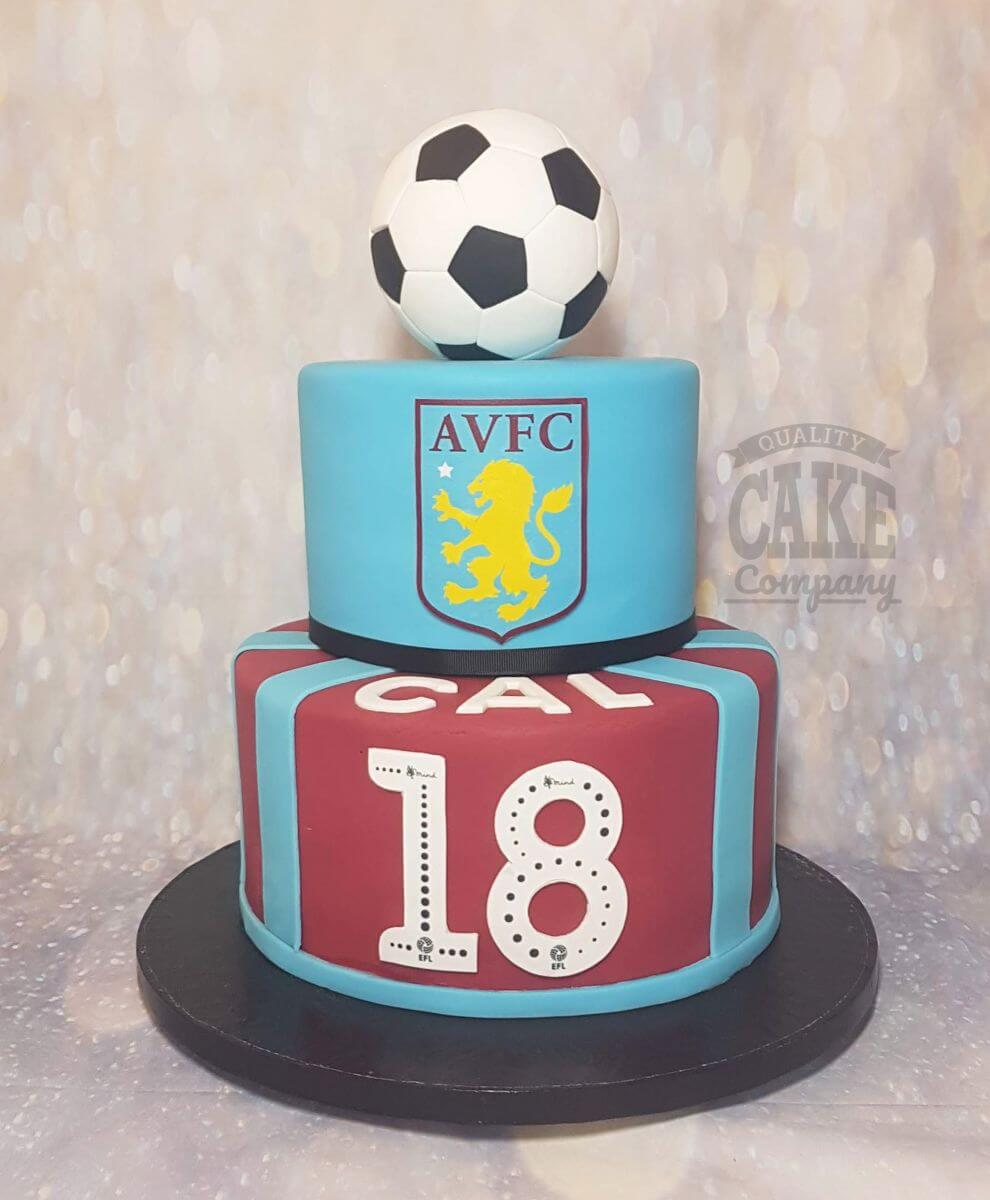 two tier aston villa avfc football theme cake - tamworth Birmingham